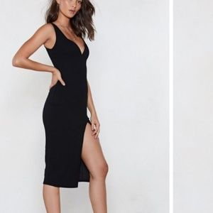 Plunge Down Black Midi Dress